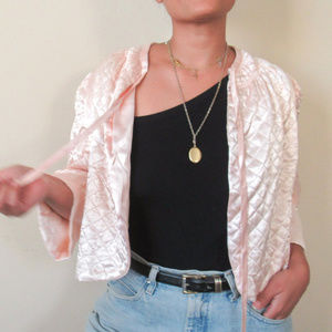 RARE VINTAGE 60s Satin Pink Cropped House Jacket